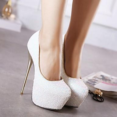 cheap Women's Heels-Women's Heels Summer Stiletto Heel Round Toe Daily Solid Colored PU White / Black / Blue