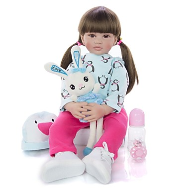cheap Dolls, Playsets & Stuffed Animals-KEIUMI 24 inch Reborn Doll Baby & Toddler Toy Reborn Toddler Doll Baby Girl Gift Cute Lovely Parent-Child Interaction Tipped and Sealed Nails Half Silicone and Cloth Body with Clothes and Accessories