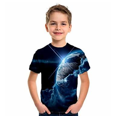 hesapli Kids CollectionUnder $8.99-Çocuklar Genç Erkek Temel Tatil Geometrik Desen Kısa Kollu Tişört Koyu Mavi