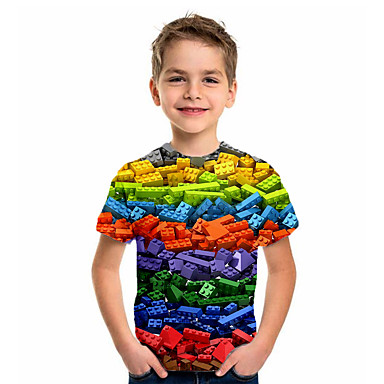 cheap Kids Collection Under $8.99-Kids Boys' Basic Holiday Geometric Print Short Sleeve Tee Rainbow