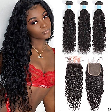 cheap 3 Bundles with Closure-3 Bundles with Closure Hair Weaves Brazilian Hair Water Wave Human Hair Extensions Remy Human Hair 100% Remy Hair Weave Bundles 345 g Natural Color Hair Weaves / Hair Bulk Human Hair Extensions 8-28