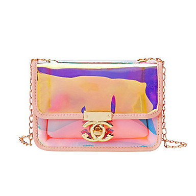 cheap Bags-Women's Zipper PU Leather Crossbody Bag Laser Jelly Bags Solid Color Black / Red / Blushing Pink