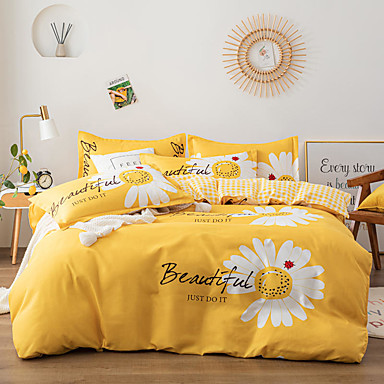 cheap Duvet Covers-4-Pieces Bedding Set Daisy Flower Print Duvet Cover Set Ultra Soft and Easy Care, Bedding Queen Size Set