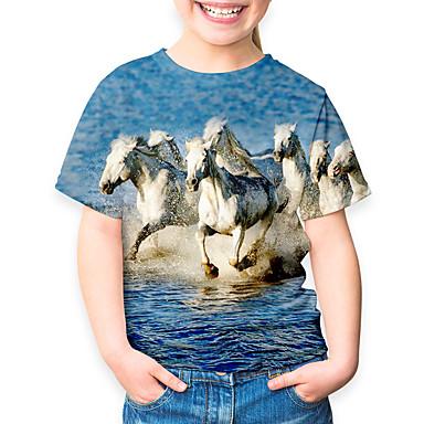 hesapli Kids CollectionUnder $8.99-Çocuklar Genç Kız Temel Tatil At Hayvan Desen Kısa Kollu Tişört Havuz