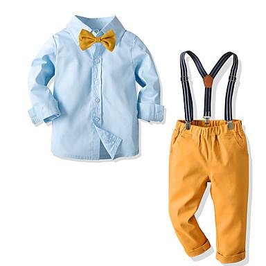 cheap Boys' Clothing Sets-Toddler Boys' Basic Street chic Street Birthday Party Solid Colored Long Sleeve Regular Regular Clothing Set Blue