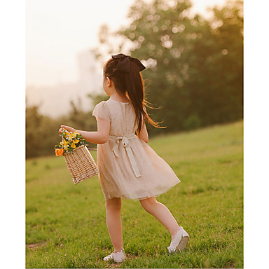 cheap Baby & Kids-Kids Girls' Solid Colored Dress Gold