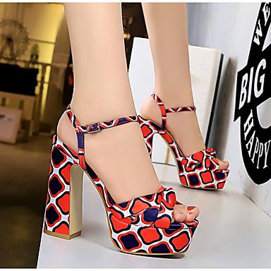 olcso Női cipők-Női Szandálok Nyár blokk Heel Köröm Napi Mértani Szatén Piros / Zöld