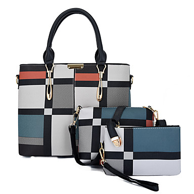 cheap New Arrivals-Women's Bags PU Leather Bag Set 3 Pcs Purse Set Pattern / Print / Zipper for Daily / Outdoor Black / Blue / Red / Bag Sets / Fall & Winter