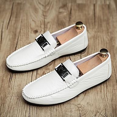 זול נעלי בד ומוקסינים לגברים-בגדי ריקוד גברים קיץ יומי נעליים ללא שרוכים PU לבן / שחור / אפור
