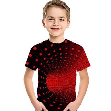 cheap Boys' Tops-Kids Toddler Boys' Active Basic Geometric Print Color Block Print Short Sleeve Tee Black