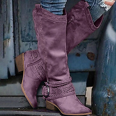 cheap Women's Boots-Women's Boots Cowboy Western Boots Chunky Heel Pointed Toe Vintage British Daily Solid Colored PU Mid-Calf Boots Pink / Khaki / Brown