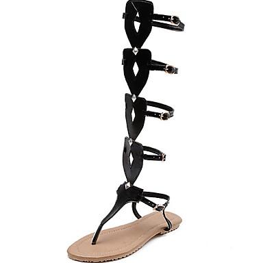 olcso Női cipők-Női Szandálok Római cipő Nyár Lapos Lábujj nélküli Napi PU Fehér / Fekete / Rózsaszín