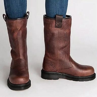 cheap Women's Boots-Women's Boots Comfort Shoes Flat Heel Round Toe PU Mid-Calf Boots Fall & Winter Brown