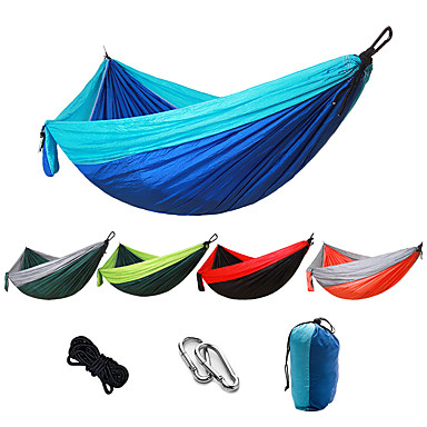 cheap Camping, Hiking & Backpacking-Camping Hammock Outdoor Portable Breathable Ultra Light (UL) Parachute Nylon with Carabiners and Tree Straps for 2 person Hunting Fishing Hiking Fruit Green + Dark Green Sky Blue Red + Black 270*140