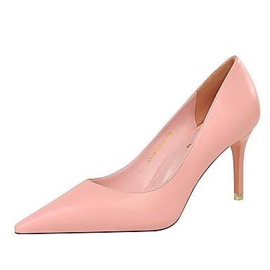 povoljno Modne sandale-Žene Cipele na petu Ljeto Stiletto potpetica Krakova Toe Dnevno Jednobojni PU Obala / Crn / Bijela