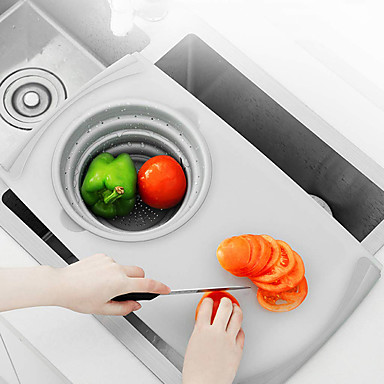 cheap Kitchen Utensils & Gadgets-Sink Cutting Board Household Telescopic Multi-function Fruit and Vegetable Anvil Kitchen Small Drain Storage
