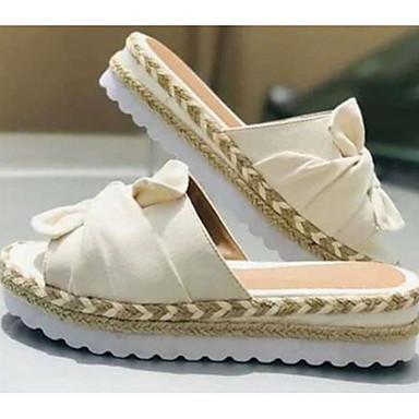 cheap Women's Sandals-Women's Sandals Summer Flat Heel Open Toe Casual Daily Beach PU White / Black / Yellow
