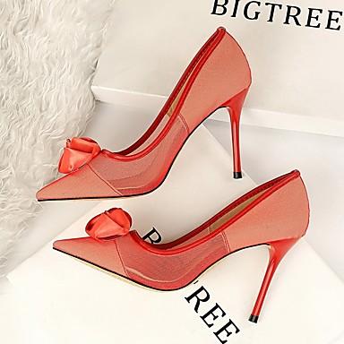 povoljno Modne sandale-Žene Cipele na petu Ljeto Stiletto potpetica Krakova Toe Dnevno Jednobojni Mrežica Crn / Crvena / Pink
