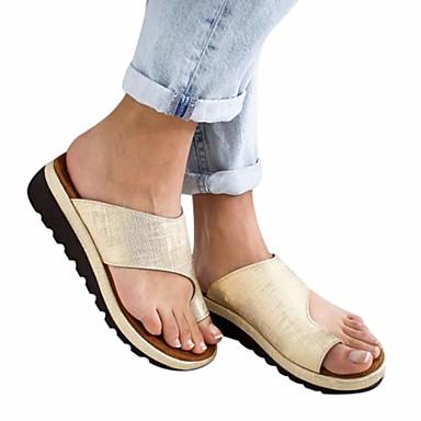cheap Women's Sandals-Women's Sandals Flat Sandals Bunion Sandals Summer Flat Heel Open Toe Casual Daily Solid Colored PU Leopard / Black / Purple