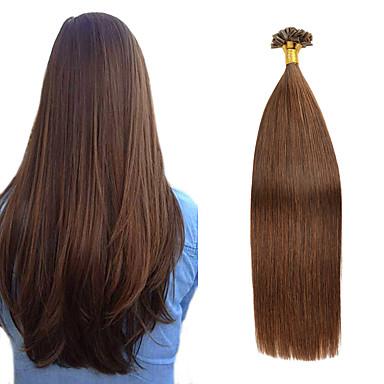 halpa Aitohiuspidennykset-Fusion / U Tip Hiuspidennykset Aidot hiukset Stick Tip -hiuspidennykset 50 kpl 50 g Pakkaus Suora Ruskea Hiuspidennykset