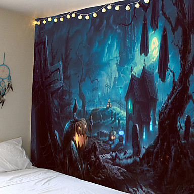 cheap Wall Tapestries-Tapestry Halloween thriller pumpkin haunted house ghost home decoration wall hanging quilt big tablecloth party decoration