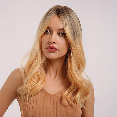 cheap Synthetic Wigs-Synthetic Wig Curly Natural Wave Middle Part Side Part Wig Medium Length Ombre Blonde Synthetic Hair 20 inch Women's Cosplay Women Synthetic Blonde HAIR CUBE / Ombre Hair