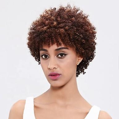 abordables Pelucas y Extensiones-Pelucas sintéticas Afro Kinky Parte libre Peluca Corta Morrón Oscuro Pelo sintético 10 pulgada Mujer Fiesta Nueva llegada Cómodo Marrón Oscuro