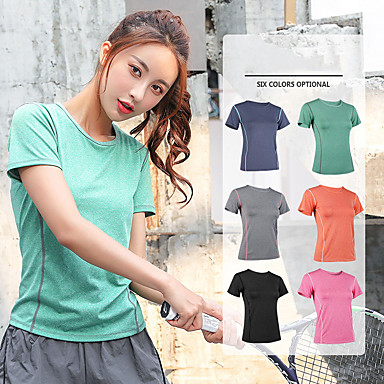 cheap Exercise, Fitness & Yoga-Women's Workout Tops Running Shirt Athleisure Summer Breathable Quick Dry Soft Fitness Gym Workout Running Jogging Sportswear Tee Tshirt Top Black Fuchsia Orange Light Grey Green Dark Navy Activewear