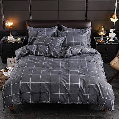 cheap Duvet Covers-Grey Plaid Print Brushed Microfiber Duvet Cover Set Lightweight Reversible Zipper Closure Soft 4Pcs Set(1 Duvet Cover 1 Bed Sheet 2 Pillow Shams)