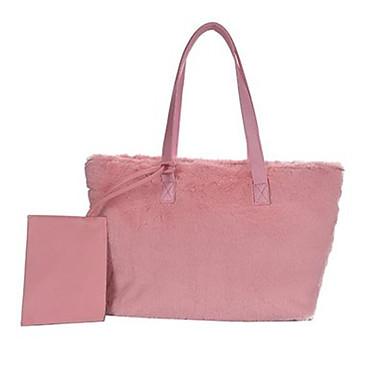 cheap Bags-Women's Velvet Bag Set Fur Bag Black / Blushing Pink / Brown