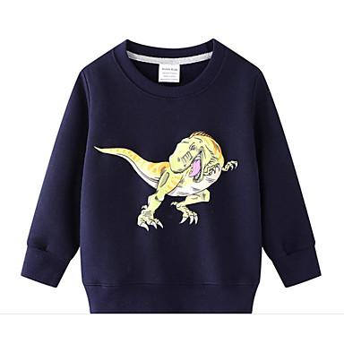 cheap Baby & Kids-Kids Boys' Basic Dinosaur Animal Print Long Sleeve Hoodie & Sweatshirt Blue