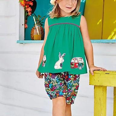 billige Baby & børn-Børn Pige Basale Blomstret Uden ærmer Tøjsæt Grøn