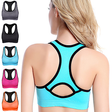 cheap Sports Underwear & Socks-Women's Sports Bra Bra Top Bralette Racerback Spandex Yoga Fitness Gym Workout Breathable High Impact Soft No Padded High Support Black Fuchsia Blue Orange Gray Solid Colored / Stretchy / Athletic
