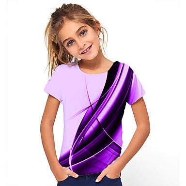 hesapli Kids CollectionUnder $8.99-Çocuklar Genç Kız Temel Tatil Geometrik Desen Kısa Kollu Tişört Mor