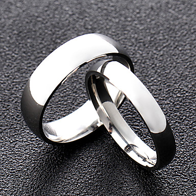 cheap Rings-Couple's Ring Silver King & Queen Titanium Steel Round Simple Wedding Casual Jewelry Classic Style Friendship