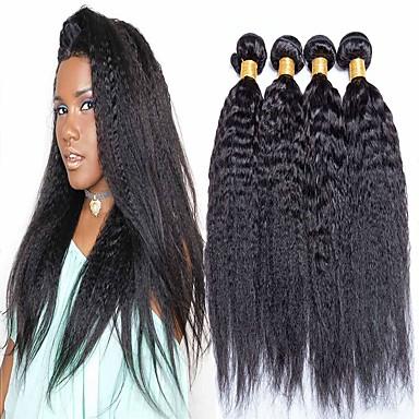 halpa Yksi pakkaus ratkaisu-4 pakettia Hiuskudokset Brasilialainen Yaki Hiukset Extensions Aidot hiukset 400 g Hiukset kutoo Pidentäjä Bundle Hair 8-28 inch Luonnollinen Luonnollinen väri 100% Neitsyt / 8A