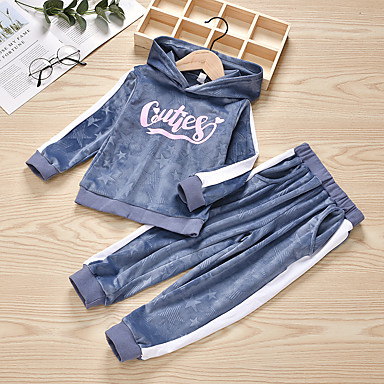 cheap Baby & Kids-Kids Girls' Basic Chinoiserie Daily Wear Festival Striped Solid Colored Long Sleeve Regular Regular Clothing Set Gray