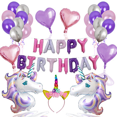 cheap Balloons-Party Balloons 25+1 pcs Unicorn Party Supplies Latex Balloons Headwear Boys and Girls Party Birthday Decoration 12-18inch for Party Favors Supplies or Home Decoration