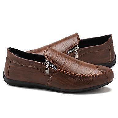 hesapli Erkek Düz Ayakkabıları ve Makosenleri-Erkek Yaz / Sonbahar İş / Günlük Günlük Mokasen & Bağcıksız Ayakkabılar PU Nefes Alabilir Su Geçirmez Kaymayan Koyu Kahverengi / Siyah