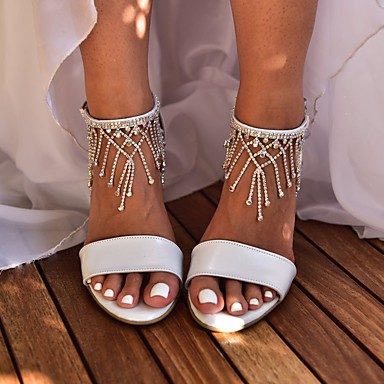 cheap Wedding Shoes-Women's Wedding Shoes Pumps Open Toe Basic Boho Wedding Party & Evening Rhinestone Sparkling Glitter Tassel Solid Colored PU Summer White / Ivory