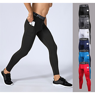 cheap Exercise, Fitness & Yoga-YUERLIAN Men's Running Tights Leggings Compression Pants Athletic Base Layer Tights Leggings with Phone Pocket Elastane Fitness Gym Workout Performance Running Breathable Quick Dry Sweat-wicking Sport