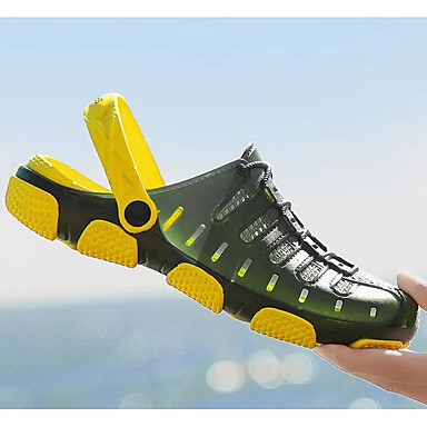 cheap Men's Shoes-Men's Summer Daily Sandals PU Black / Yellow / Blue Color Block
