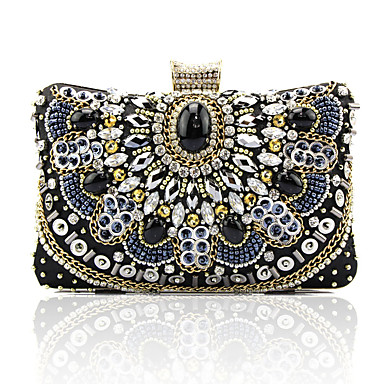 cheap Kids' Bags-Women's / Girls' Crystals / Beading Silk Evening Bag Solid Color Black
