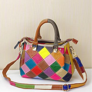 cheap Handbag & Totes-Women's Bags Cowhide Top Handle Bag for Daily White / Black / Rainbow