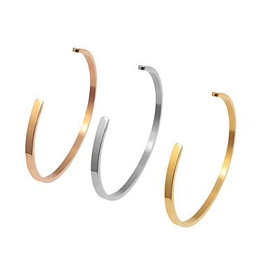 cheap Bracelets-Bracelet Bangles Cuff Bracelet Classic Fashion Simple Trendy Casual / Sporty Fashion Titanium Steel Bracelet Jewelry Rose Gold / Gold / Silver For Gift Date Birthday Beach Festival