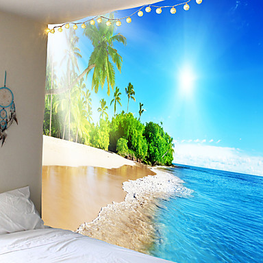cheap Wall Tapestries-Modern landscape series coconut palm beach sun tapestries wall hanging hanging cloth background cloth decorative cloth