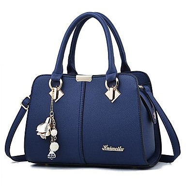 cheap Handbag & Totes-Women's Bags PU Leather Shoulder Messenger Bag Zipper for Daily Wine / Black / Royal Blue / Beige / Gray
