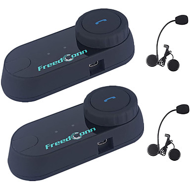 billige Hodetelefoner til hjelm-1 eller 2 stk. Freedconn motorsykkelhjelm Bluetooth-hodesettkommunikasjonssystem for motorsykkelski 2 ~ 3 ryttere som parrer hel ansikt og integrert hjelm FM radio / håndfri / vanntett / intercom rekk