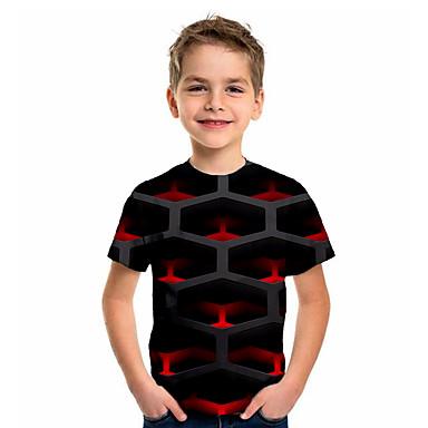 hesapli Kids CollectionUnder $8.99-Çocuklar Genç Erkek Spor ve Dış Ortam Temel Tatil Zıt Renkli Kısa Kollu Tişört Siyah