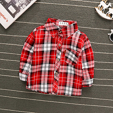 cheap Baby Boys' Tops-Baby Boys' Basic Red Striped Long Sleeve Blouse Red